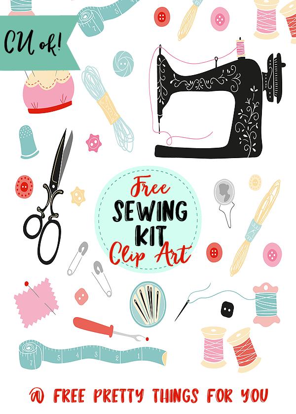 Sewing clipart pretty. Free kit clip art