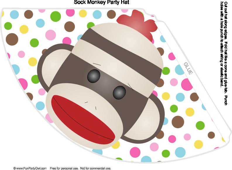 Monkey party hat birthday. Kid clipart sock
