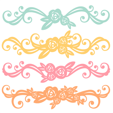 Flower flourishes svg scrapbook. Free png files for cricut