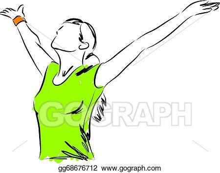 Freedom clipart. Vector girl breathing illustration