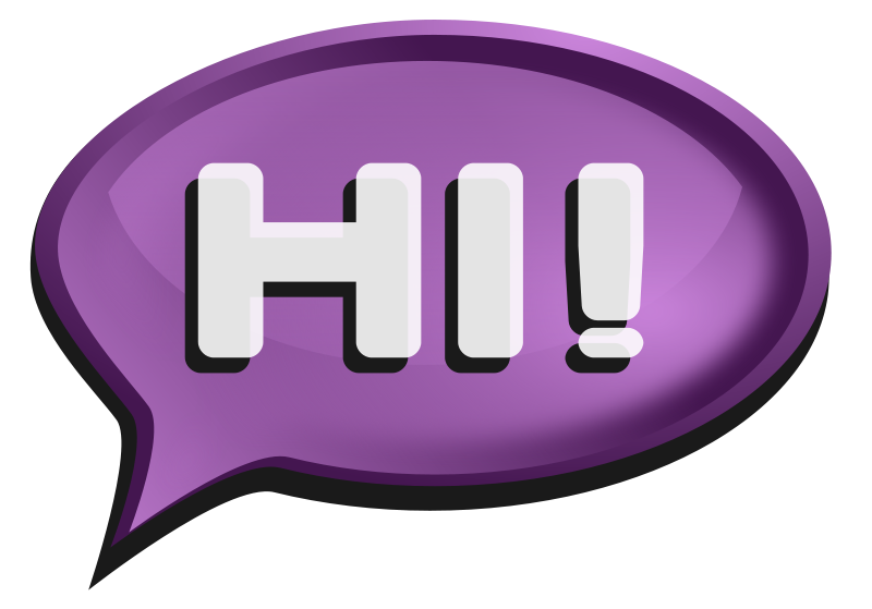 Hello clipart speech bubble. Purple the word this