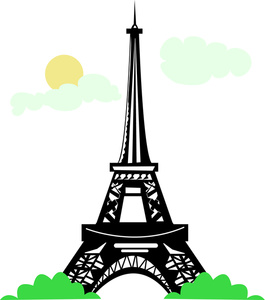 Scene with the eiffel. French clipart attraction