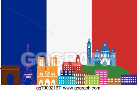Eps vector paris skyline. French clipart color