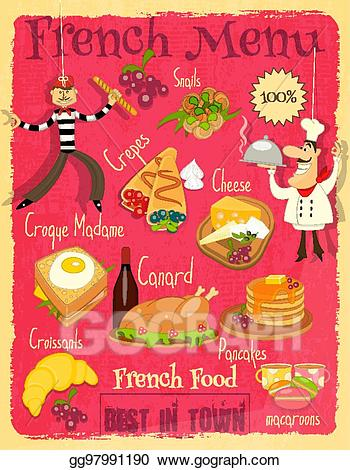 French clipart menu french. Eps vector food stock