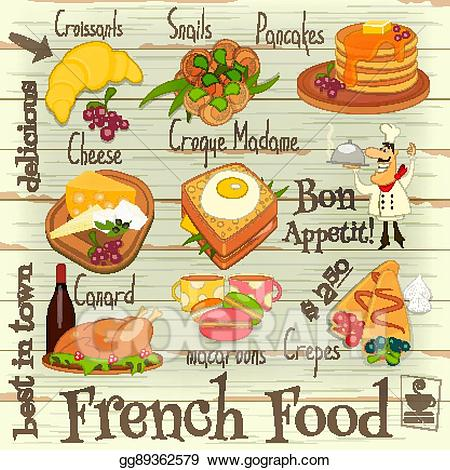 Eps vector food stock. French clipart menu french