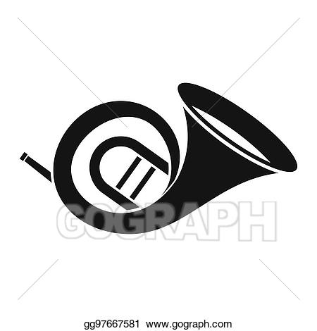 Stock illustration horn icon. French clipart simple
