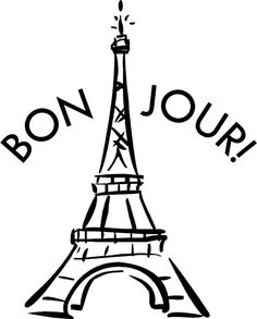 Eiffel tower black and. French clipart simple