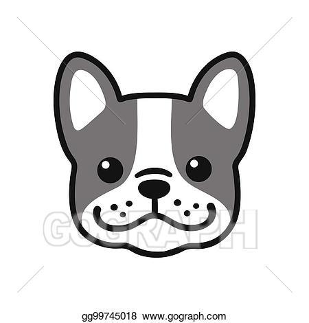 French clipart simple. Vector bulldog face illustration