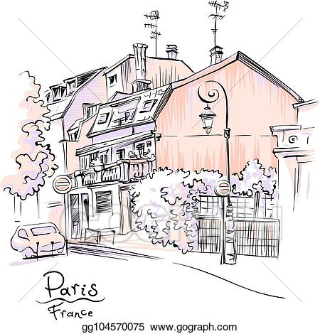 French clipart street paris. Vector cozy france