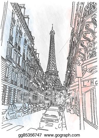 French clipart street paris. Vector stock of the
