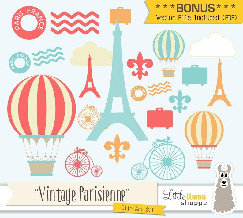 French clipart themed paris. Clip art france vintage