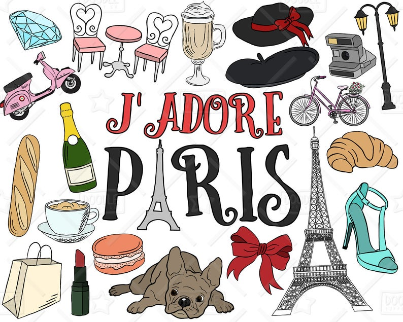 Vector pack parisian eiffel. French clipart themed paris