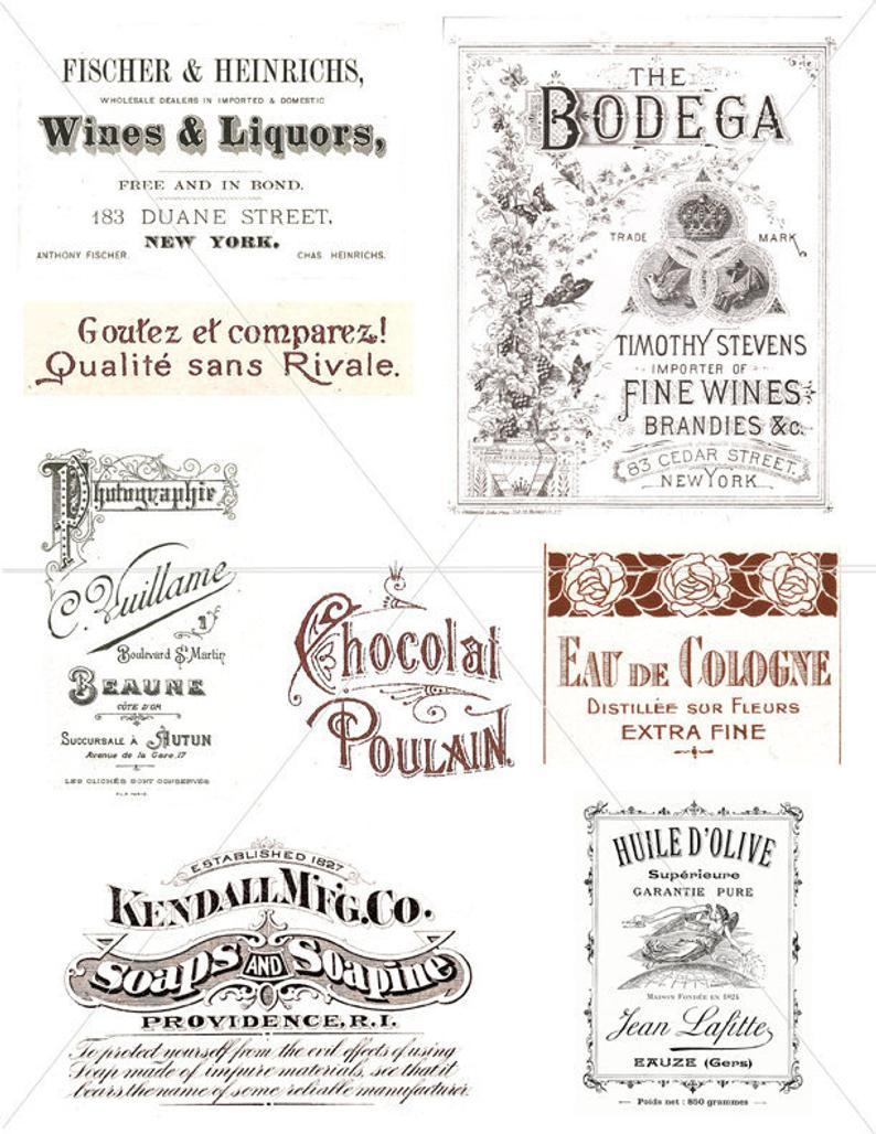 Images labels clip art. French clipart typography