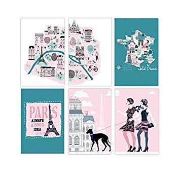 French clipart wall art. Set of x paris