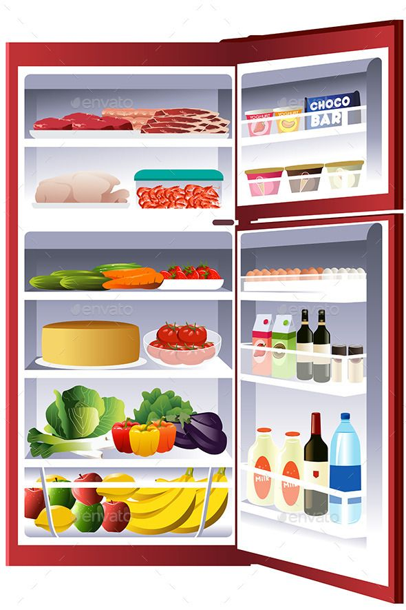 Inside of a refrigerator. Fridge clipart