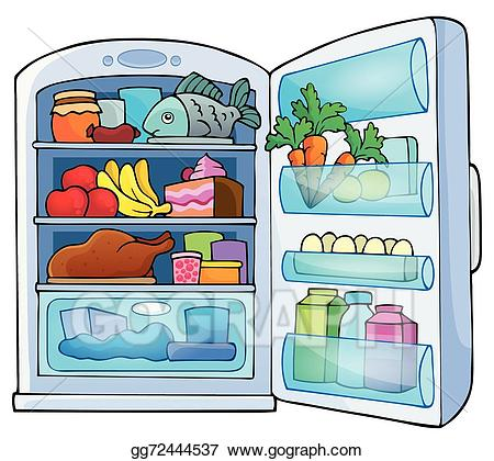 Fridge clipart closed. Vector illustration image with