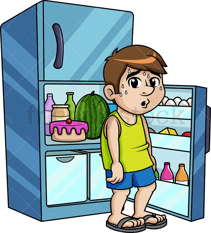 Man sitting in the. Fridge clipart cool