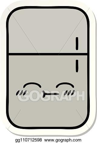 Fridge clipart cute. Eps vector sticker of