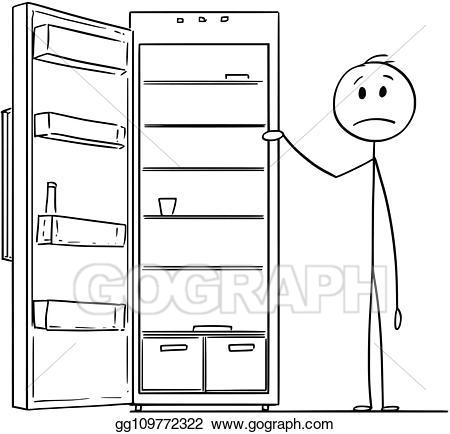 Vector illustration cartoon of. Fridge clipart empty