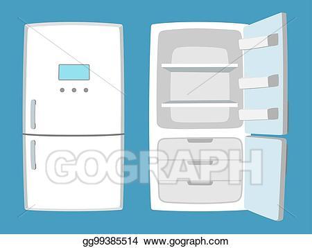 Fridge clipart file. Vector illustration in cartoon