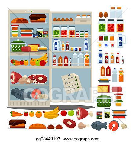 Vector stock open full. Fridge clipart food clipart