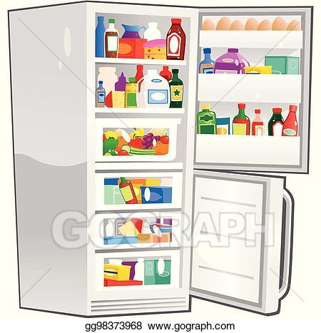 Vector freezer open eps. Fridge clipart fride