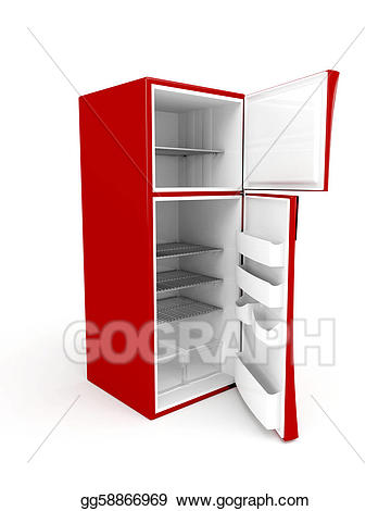 Stock illustration empty with. Fridge clipart fridge door