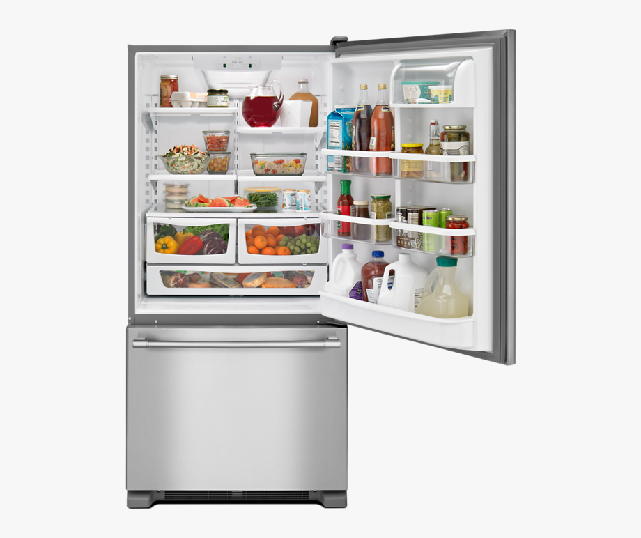 Refrigerator clipart frozen food. Fridges with freezer draw