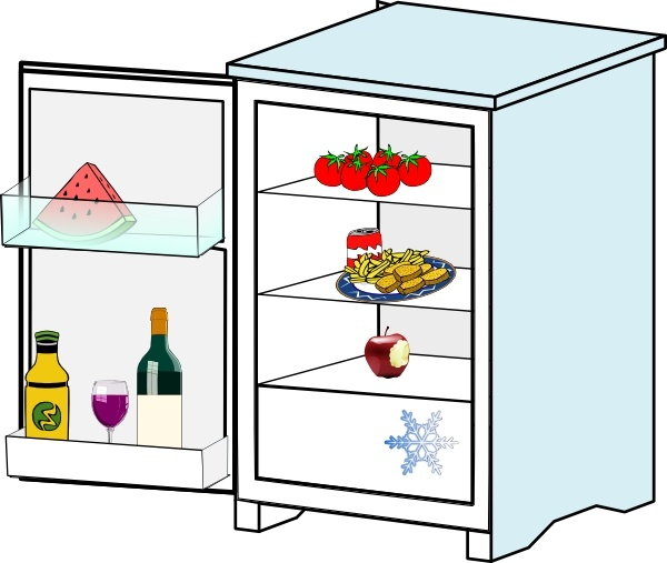 Pencil and in color. Fridge clipart lack food