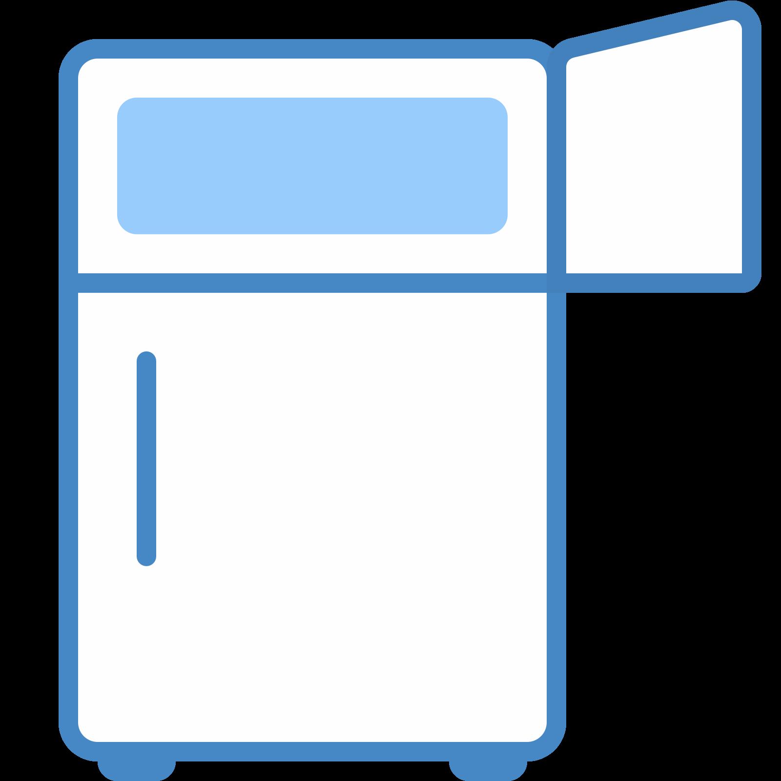 With open freezer icon. Fridge clipart svg