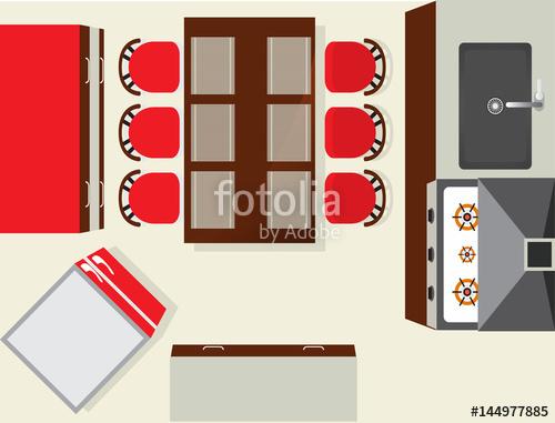 Modern kitchen interior element. Fridge clipart top view
