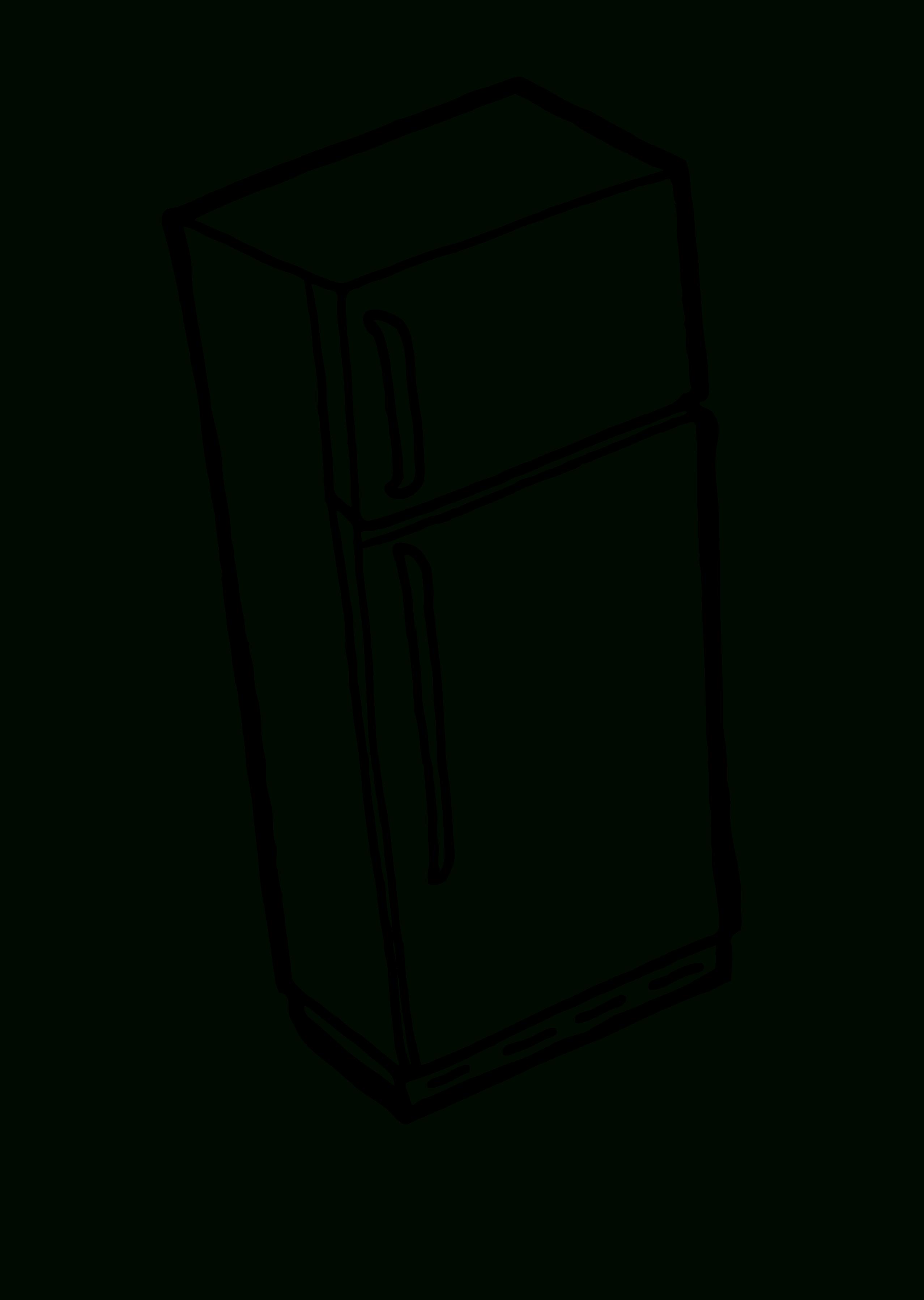 Refrigerator black and white. Fridge clipart transparent background