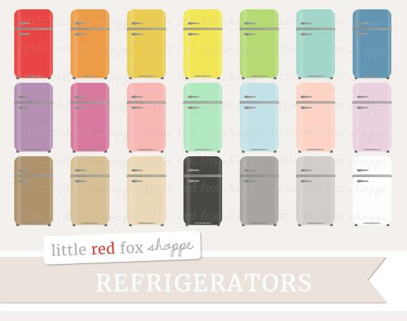 Fridge clipart vintage refrigerator. Retro clip art kitchen