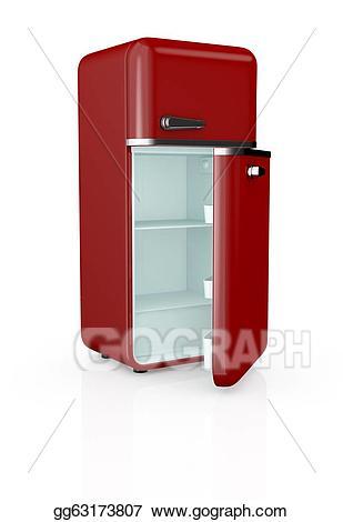 Clip art stock illustration. Fridge clipart vintage refrigerator
