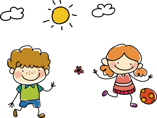 Drawing playing with friends. Friend clipart childhood friend