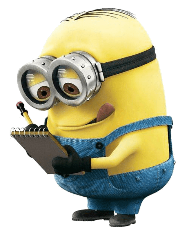 Minion writing notes transparent. Minions clipart clear background