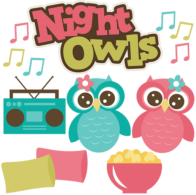 Friends clipart owl. Night owls girl svg