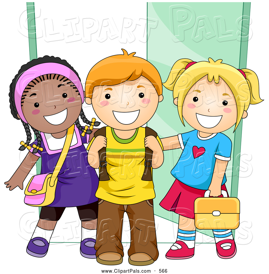 Friendly clipart. Child school station