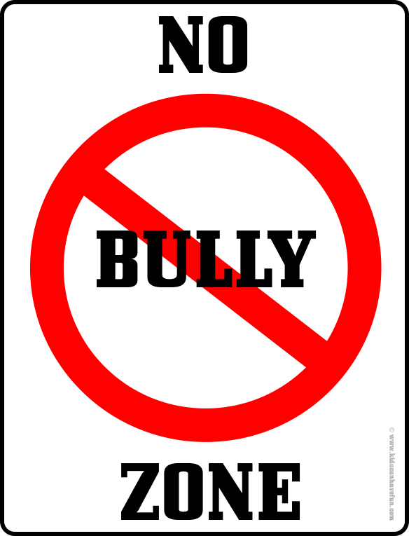 No bully zone poster. Student clipart bullying