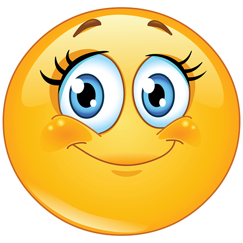 Girl smiley face funny. Friendly clipart emoticon
