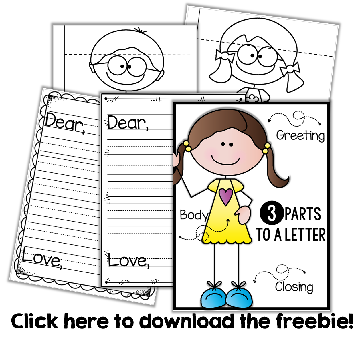 Friendly clipart friendly letter. Writing a freebie kindergarten