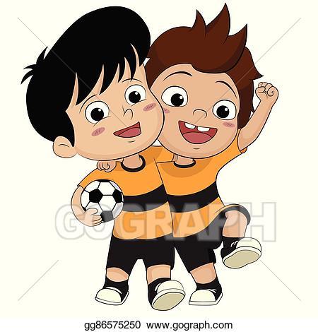 Win clipart animated. Vector illustration cartoon soccer