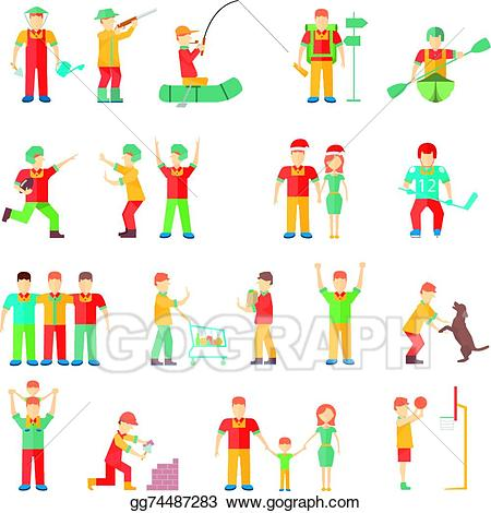 Friendly clipart many friend. Vector people in different