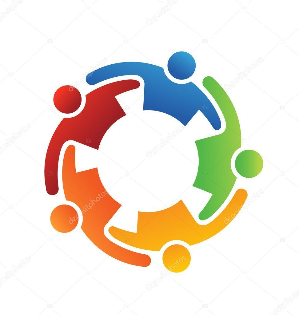 Teamwork clipart person connected. Vector logo embrace people