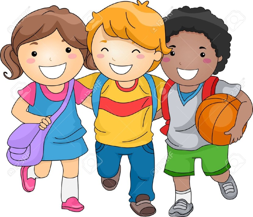 Clipground school children. Friendly clipart