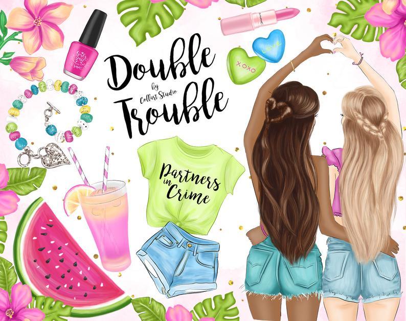 Illustrations summer clip art. Friends clipart bff