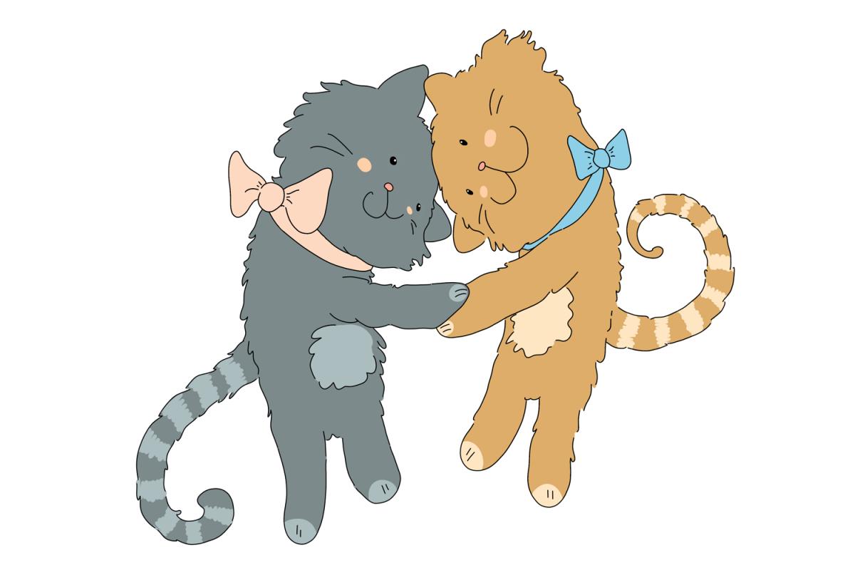 Friends clipart cat. Hugging cats best clip