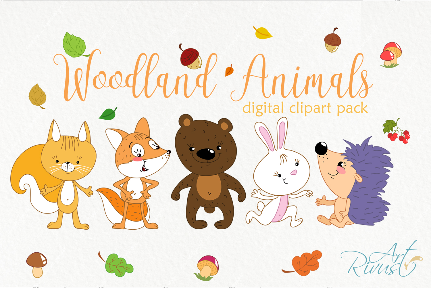 Forest woodland animals clip. Friends clipart cute
