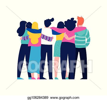 Vector friend group hug. Friends clipart squad