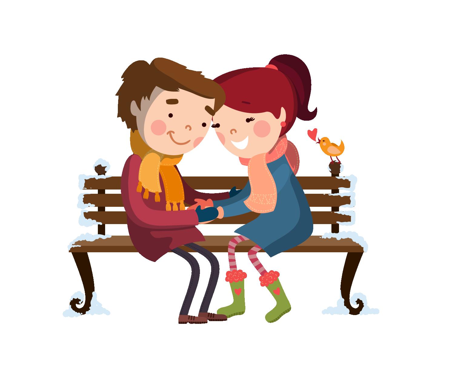 Friendship clipart bench. Couple cartoon transprent png